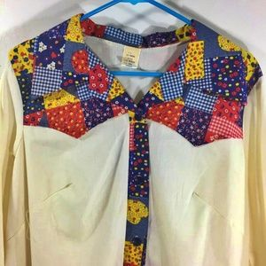 Vintage Patchwork Style Blouse or Smock Top